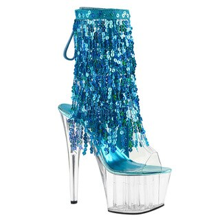 Pleaser ADORE-1017SQF Women Open Toe/Heel Sequins Fringe Lace-Up Back Ankle Boot