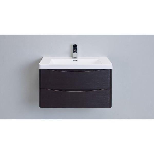 Eviva Smile White Acrylic/ Chestnut Wood 36-inch Bathroom Vanity Set