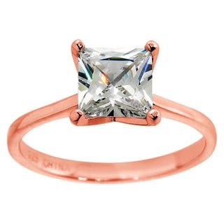 Eternally Haute 14K Rose Gold Plated 3.5 Carat Princess Cut Solitaire Ring - Pink