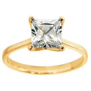 Eternally Haute 14K Gold Plated 3.5 Carat Princess Cut Solitaire Ring