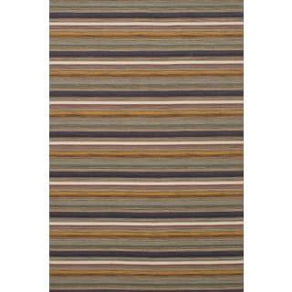 eCarpetGallery Manhattan Brown/Grey Wool Flatweave Sumak Rug (6'7 x 9'11)