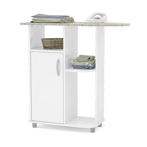 Boahaus Ironing Cart, White, 4 casters wheels, 1 closed compartment - White