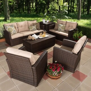 Contemporary 6-Piece Brown Wicker Outdoor Seating Set by Baxton Studio