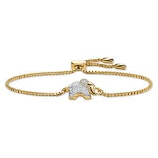 "Diamond Accent Elephant Charm Adjustable Drawstring Bracelet 18k Yellow Gold-Plated 9"""