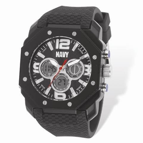 US Navy Wrist Armor C28 Watch, Black Dial and Black Rubber Strap