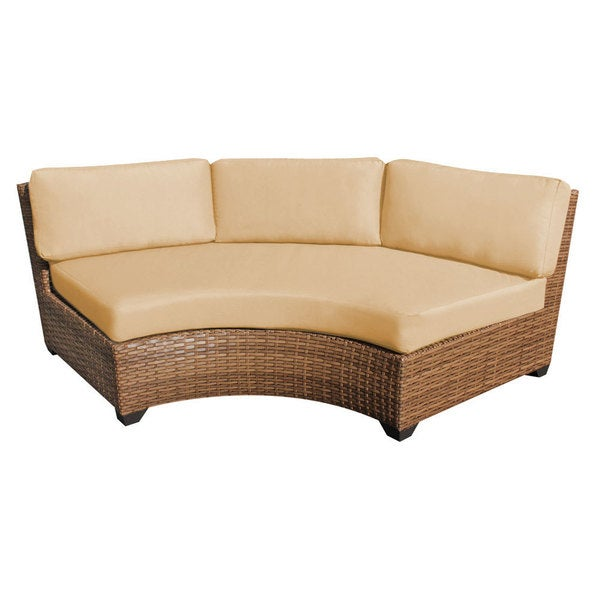 Outdoor Home Bayou Synthetic Wicker Patio Armless Curved Sofa Set Of 2