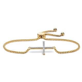 "Diamond Accent Cross Charm Adjustable Drawstring Bracelet 18k Yellow Gold-Plated 9"""