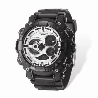 US Air Force Wrist Armor Silver Digital Display Dial/Black Rubber Strap Watch