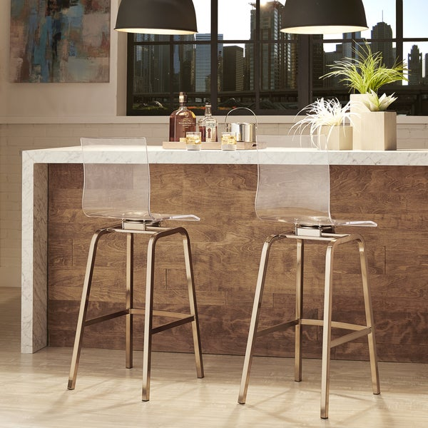 Incroyable Miles Clear Acrylic Swivel High Back Bar Stools With Back By INSPIRE Q (Set  Of