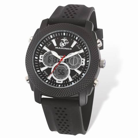 US Marines Wrist Armor C21 Watch, Black and White Dial and Black Rubber Strap