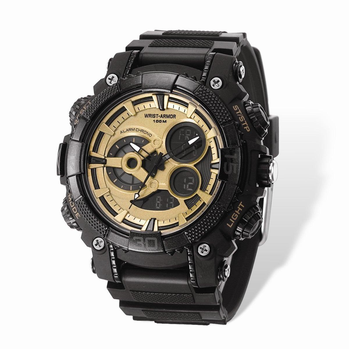 Wrist Armor Gold Digital Display Dial & Black Rubber Stra...