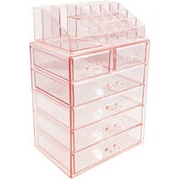 Sorbus Pink Acrylic Cosmetic Makeup and Jewelry Storage Case