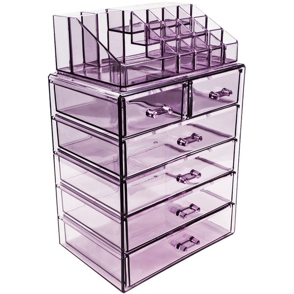 Sorbus Purple Acrylic Cosmetic Makeup and Jewelry Storage Case