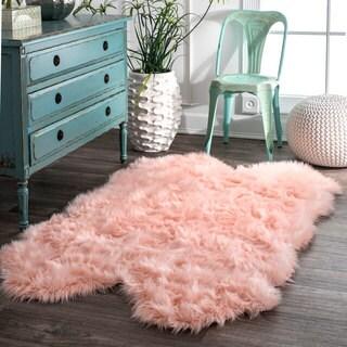 nuLOOM Faux Flokati Sheepskin Soft and Plush Cloud Pink Shag Rug - 3'6 x 6'