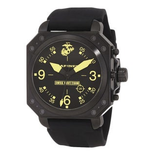 US Marines Wrist Armor Black and Yellow Dial, Black Rubber Strap Swiss Quartz Watch