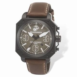 US Marines Wrist Armor C4 Brown Dial, Leather Strap Swiss Quartz Watch