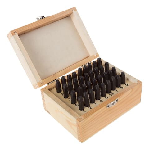 Letter and Number Steel Punch Stamp Set, with 36-piece Stamping Punch, and Die Wood Storage Case by Stalwart