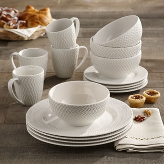 Elle Decor Bridgette Porcelain 16-piece Dinnerware Set & Porcelain Dinnerware | Find Great Kitchen u0026 Dining Deals Shopping at ...
