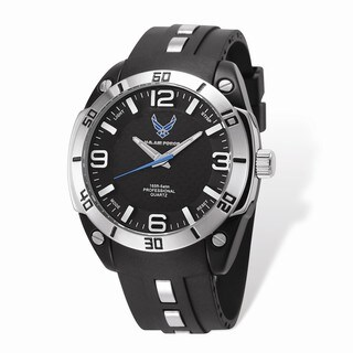 US Air Force Wrist Armor Black Dial/ Rubber Strap Alloy Accent Watch