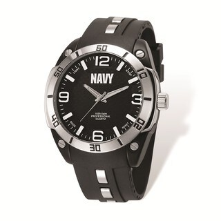 US Navy Wrist Armor Black Dial/Black Rubber Strap Alloy Accent Watch