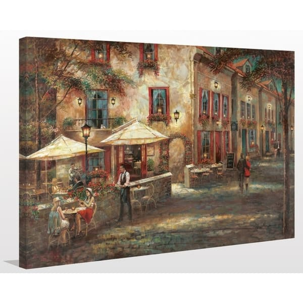 Courtyard Cafe Giclee Stretched Canvas Wall Art