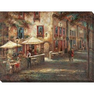 Courtyard Cafe' Giclee Stretched Canvas Wall Art