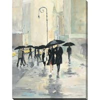 """""""City in the Rain"""" Giclee Stretched Canvas Wall Art"""