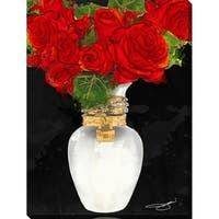 BY Jodi 'Flowers in red' Giclee Stretched Canvas Wall Art