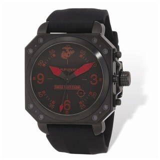 US Marines Wrist Armor Black/Rd Dial, Black Rubber Strap Swiss Quartz Watch