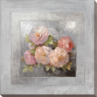 Roses on Gray III' Giclee Stretched Canvas Wall Art