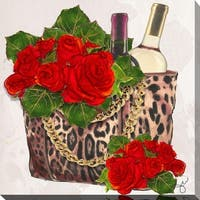 "BY Jodi ""Wine and roses"" Giclee Stretched Canvas Wall Art"
