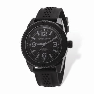Wrist Armor Black Stealth Dial & Black Rubber Strap Watch