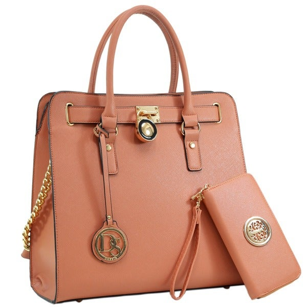 Dasein Large Satchel Handbag with Matching Wallet