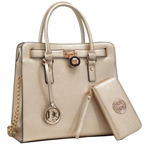 Dasein Large Satchel Handbag with Matching Wallet