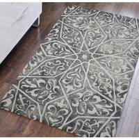 Constantine Grey Wool Hand-tufted Area Rug (5' x 8') - 5' x 8'
