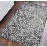 Constantine Grey Wool Hand-tufted Area Rug - 5' x 8'