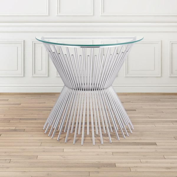 Shop Gus Contemporary Glass And Metal Half Round Console