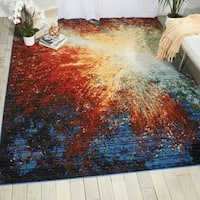 Nourison Chroma Red Flare Modern Area Rug