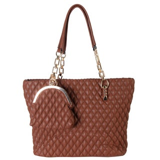 Rimen and Co. Women's Quilted Metal Chain with Coin Pocket Shoulder Bag