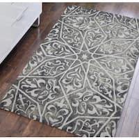 "Hand-tufted Constantine Grey New Zealand Wool Area Rug - 7'6"" x 9'6"""
