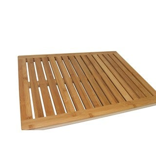 Zora Multi-Purpose & Versatile Elegant Brown Bamboo Bath or Floor Mat, 23.75 Inch Long - 18 x 24