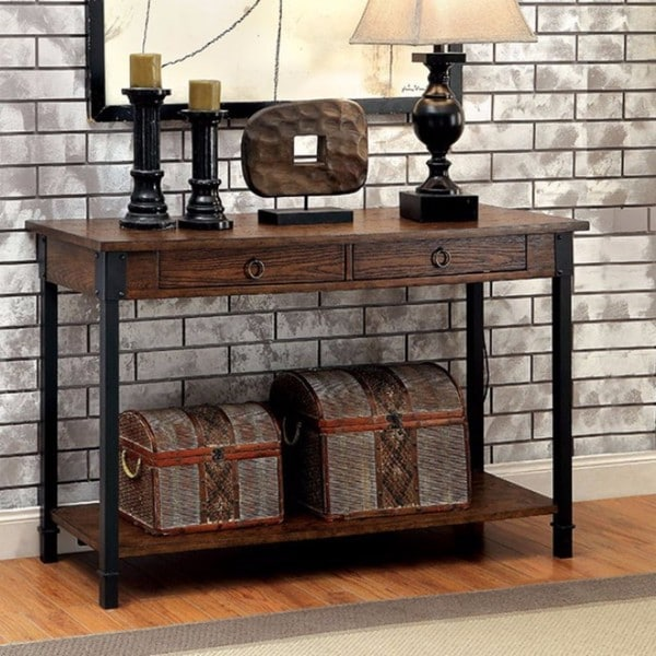 Benzara Paige Brown Wood Industrial Console Table Free Shipping
