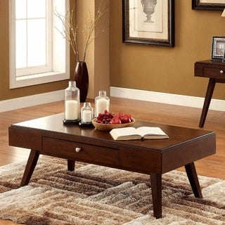 Kinley Wood Brown Cherry Finish Mid-century Modern Coffee Table