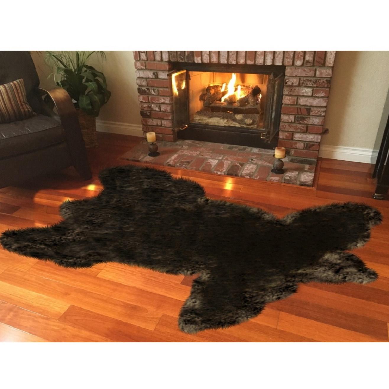 Spectrum Legacy Faux Fur Animal Skin Shag Rug (4' x 6') -...