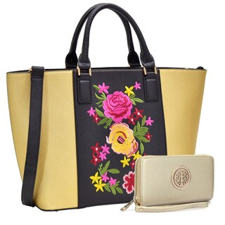 Dasein Classic Designer Flower Embroidery Collection Large Laptop Tote Bag with Matching Wallet