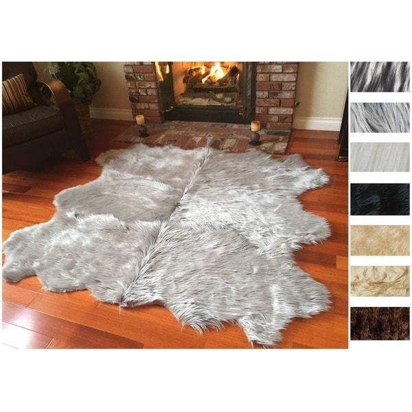 Shop Legacy Faux Sheepskin Wool 6 Pelt Shag Rug 6 X 6