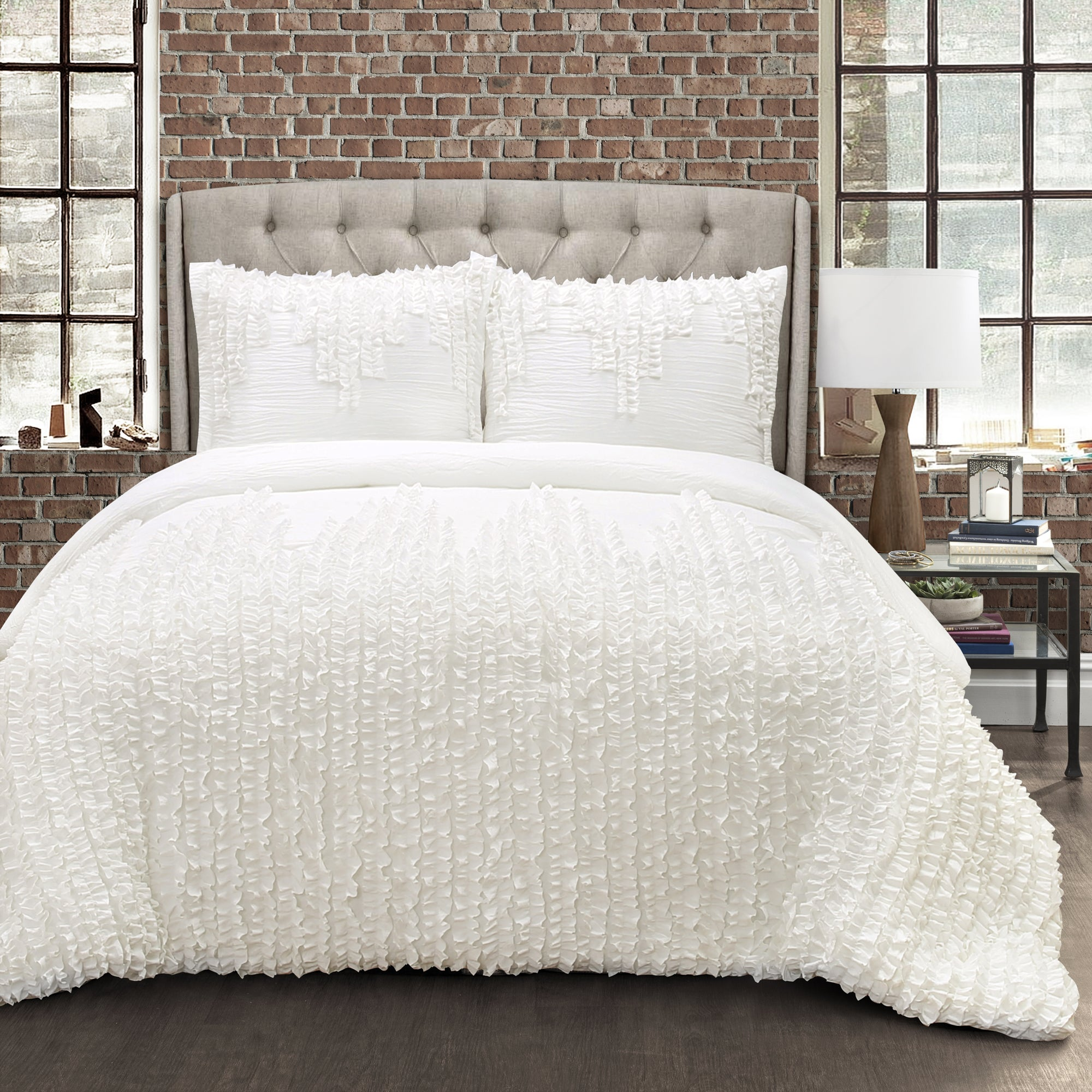 Lush decor white ruffle stripe 3 piece comforter set