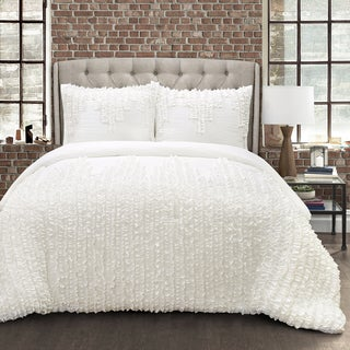 Lush Decor White Ruffle Stripe 3 Piece Comforter Set