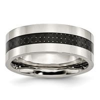 Stainless Steel Black Carbon Fiber Inlay Flat 8mm Polished Band