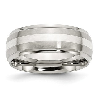 Stainless Steel Sterling Silver Inlay Ridged Edge Brushed and Pol Band
